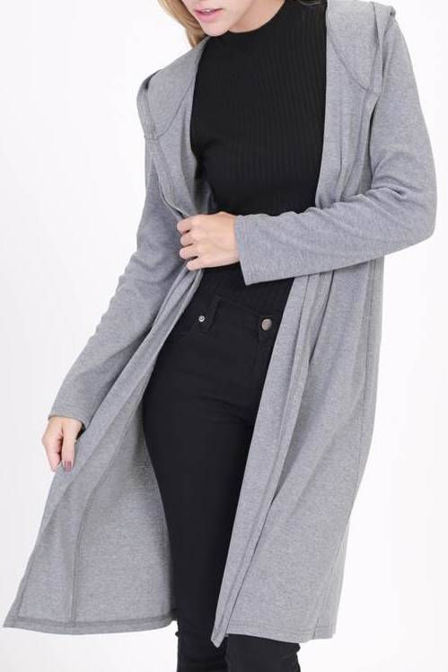 Long Light Grey Cardigan Sweater